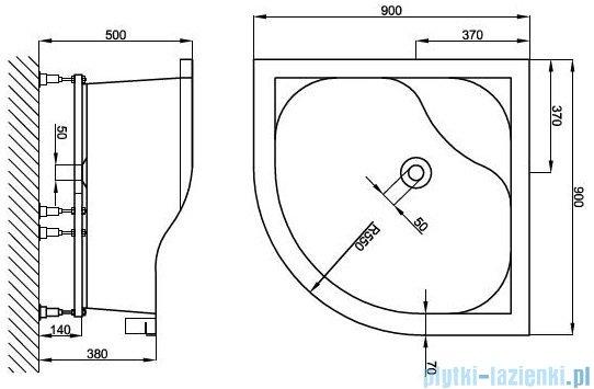 Atrium Brenta brodzik półokrągły 90x90 cm QF1-90