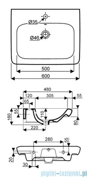 Koło Life! umywalka reflex 60cm otworem na baterie biała M21160900