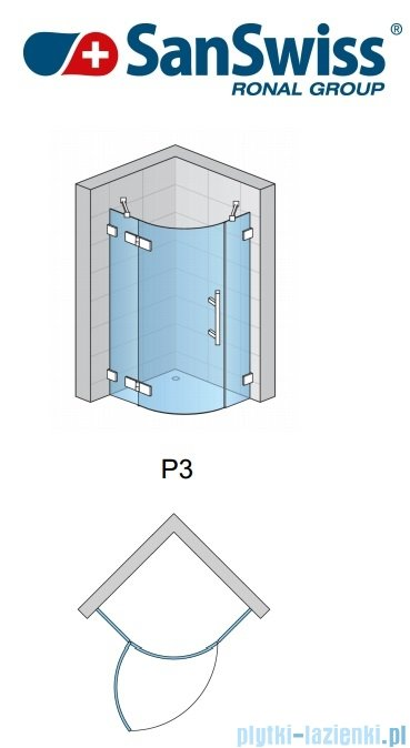SanSwiss Pur PU4P Kabina półokrągła 80cm profil chrom szkło Krople PU4P550801044