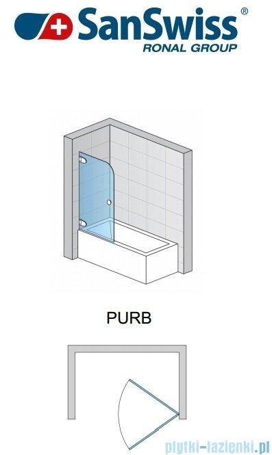 SanSwiss Pur PURB Parawan nawannowy 1-częściowy 85cm profil chrom szkło Master Carre Lewy PURBG08501030