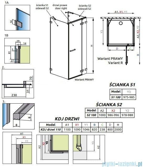 Radaway Euphoria KDJ+S Kabina przyścienna 100x110x100 prawa szkło przejrzyste 383023-01R/383052-01/383032-01