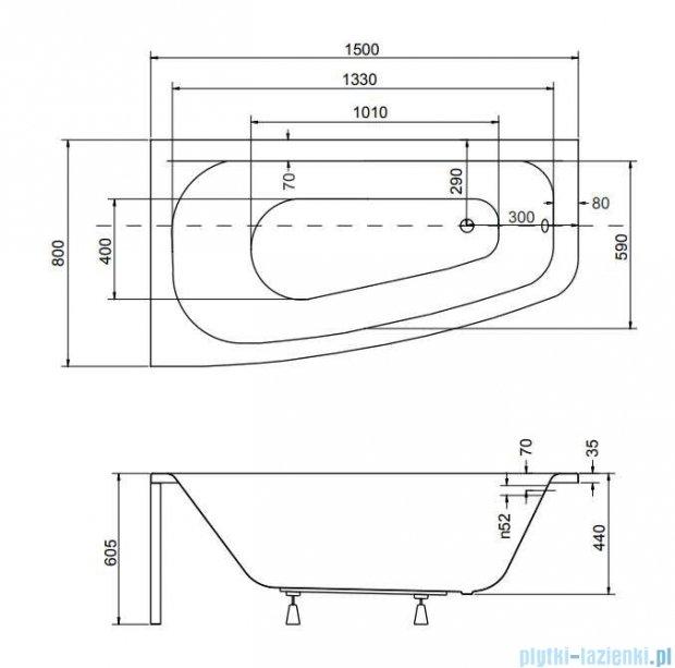 Besco Luna 150x80cm Wanna asymetryczna Lewa