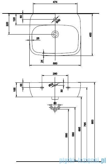 Koło Style Umywalka 55cm z otworem+powłoka Reflex L21955900