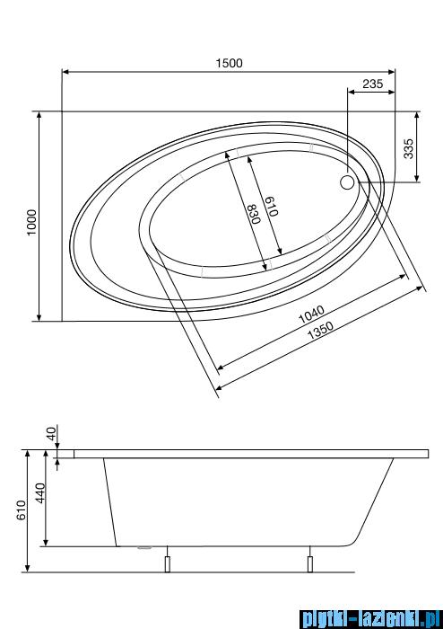 Roca Orbita wanna 150x100cm lewa z hydromasażem Effects Gold A24T206000