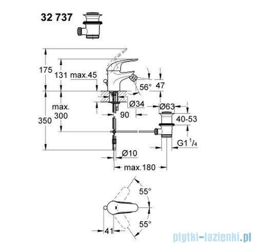Grohe Euroeco jednouchwytowa bateria bidetowa DN 15 z zestawem odpływowym 32737000