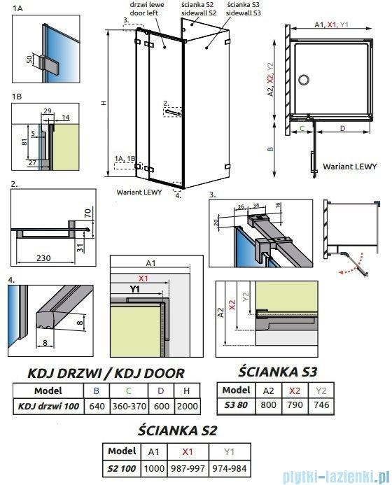 Radaway Euphoria KDJ P Kabina przyścienna 100x80x100 lewa szkło przejrzyste + brodzik Argos D + syfon 383040-01L/383032-01/383038-01/4AD810-01