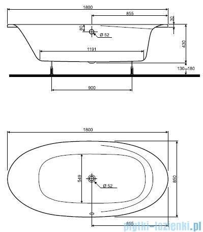 Koło Progress Wanna owalna 180x85cm XWL2580
