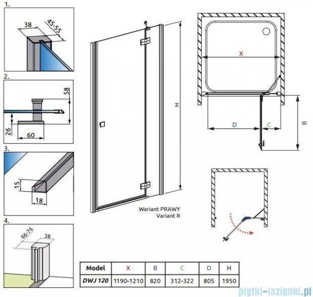 Radaway Almatea DWJ Drzwi wnękowe 120 Prawe szkło grafitowe + Brodzik Doros D + syfon 31502-01-05N