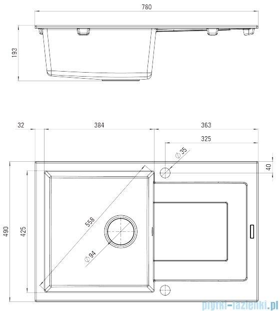 Deante Rapido zlewozmywak 1-komorowy z ociekaczem 78x49 cm grafitowy ZQK 2113