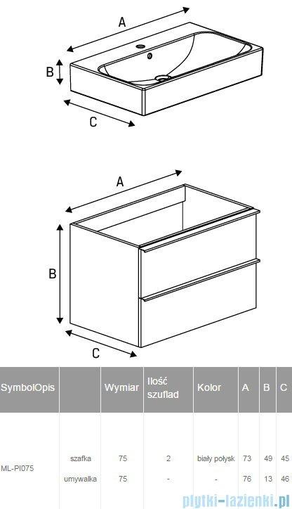 New Trendy Kubiko szafka wisząca podumywalkowa + umywalka biały połysk 75 cm ML-PI075