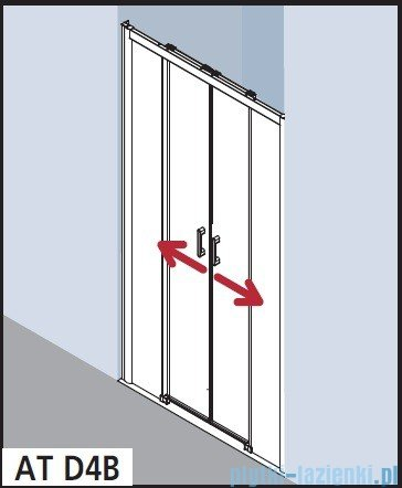 Kermi Atea Drzwi przesuwne bez progu, 4-częściowe, szkło przezroczyste z KermiClean, profile białe 170x200 ATD4B170202PK
