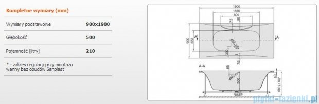 Sanplast Altus Wanna prostokątna+stelaż WP-ALT/EX 190x90+SP, 610-120-0360-01-000
