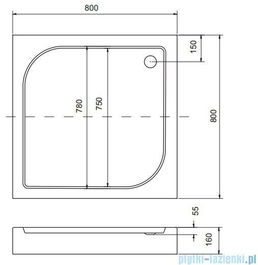 Sea Horse Sigma zestaw kabina natryskowa kwadratowa 80x80 szkło: A2 + brodzik BKZ1/3/QB/A2