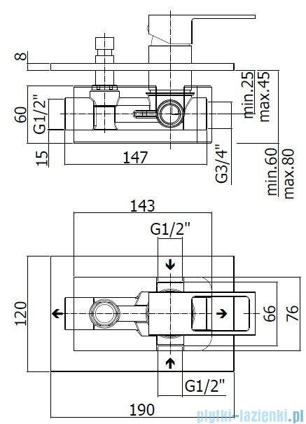 Paffoni  Bateria natryskowa podtynkowa z przełącznikiem Effe chrom EF015