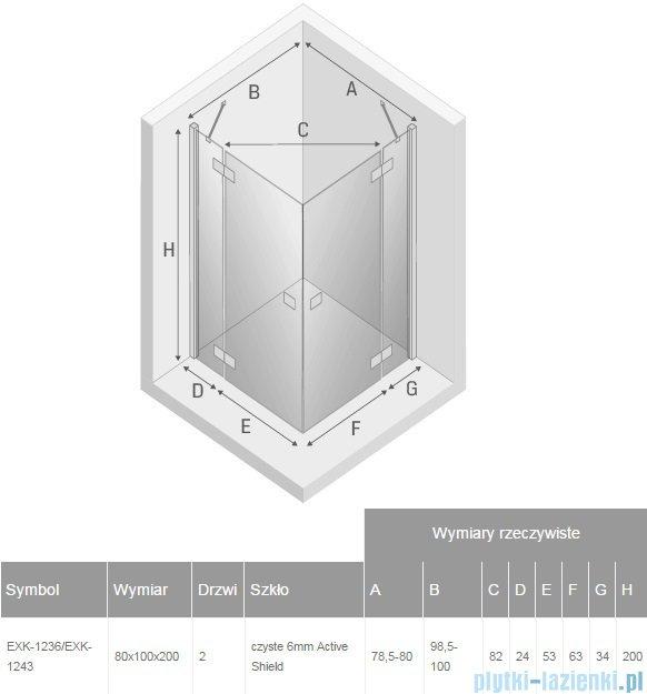 New Trendy Reflexa 80x100x200 cm kabina prostokątna przejrzyste EXK-1236/EXK-1243