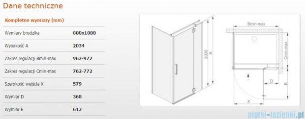 Sanplast kabina narożna prostokątna prawa przejrzyste KNDJ2P/AVIV-80x100 80x100x203 cm 600-084-0140-42-401
