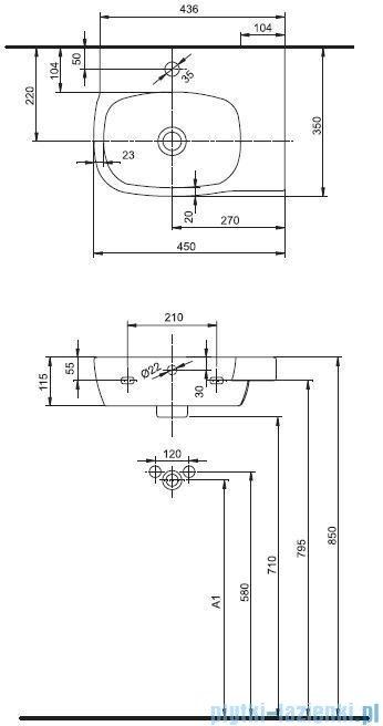 Koło Style Umywalka 45cm asymetryczna z otworem prawa+powłoka Reflex L22145900