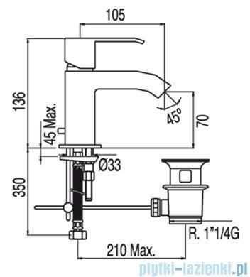 Tres Cuadro-Tres Bateria umywalkowa z perlatorem i dźwignią 1.06.103