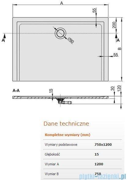 Sanplast Brodzik prostokątny Space Mineral 120x75x1,5cm + syfon 645-290-0250-01-000