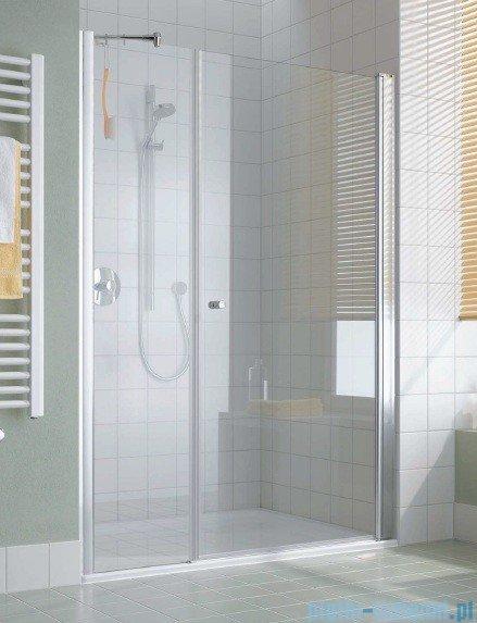 Kermi Atea Drzwi wahadłowe jednoskrzydłowe i pole stałe, lewe, szkło przezroczyste, profile srebrne 90cm AT1OL09018VAK