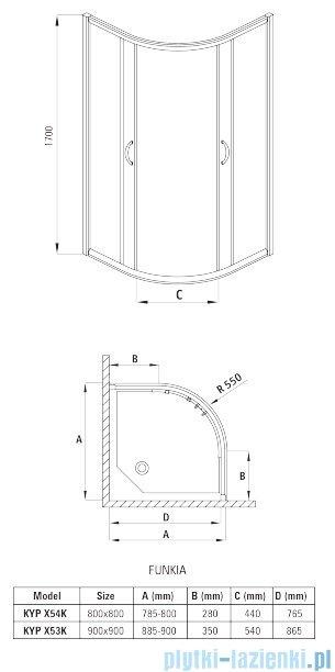 Deante Funkia kabina półokrągła czteroszybowa niska 90x90x170 cm szkło mrożone KYP 653K