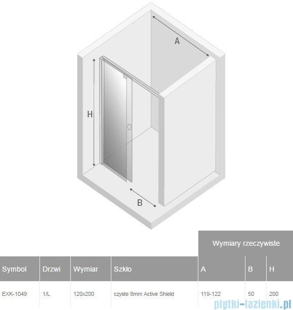 New Trendy drzwi prysznicowe Porta 120x200cm lewe szkło przejrzyste EXK-1049