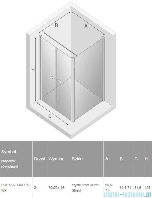 New Trendy New Soleo 70x70x195 cm kabina wspornik równoległy przejrzyste D-0143A/D-0090B-WP