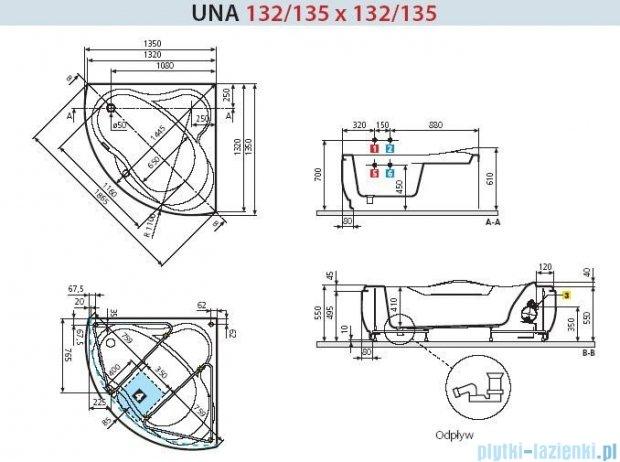 Novellini Wanna UNA HYDRO+DEZYNFEKCJA 135x135 UNA3135135PC-A1K