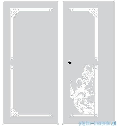 Kerasan Retro Kabina prostokątna lewa szkło dekoracyjne piaskowane profile brązowe 80x96 9143P3