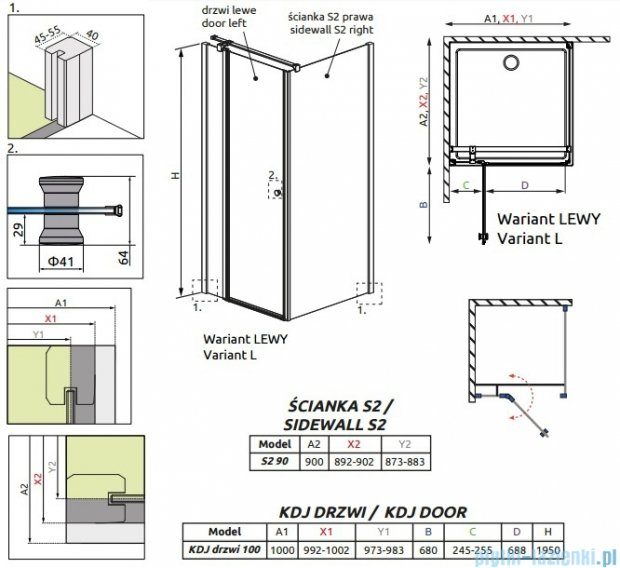 Radaway Eos II KDJ kabina prysznicowa 100x90 lewa szkło przejrzyste + brodzik Argos D + syfon 3799422-01L/3799431-01R/4AD910-01