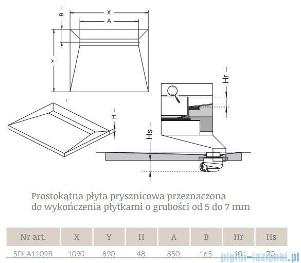 Radaway prostokątny brodzik podpłytkowy z odpływem liniowym na dłuższym boku Basic 109x89cm 5DLA1109B,5R085B,5SL1