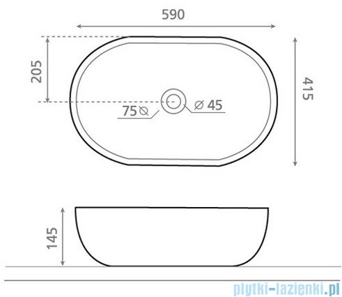 Bathco umywalka nablatowa Toulouse 59x41,5 cm 4037