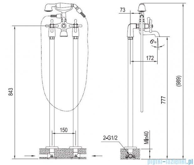 Blue Water Retro bateria wannowa podłogowa stare złoto RET-BWP.090