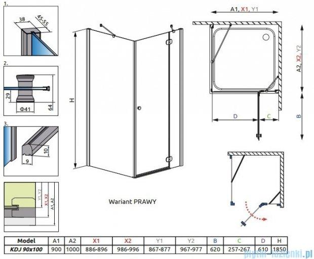 Radaway Torrenta Kdj Kabina prysznicowa 90x100 prawa szkło przejrzyste + brodzik Doros D + syfon 32240-01-01NR
