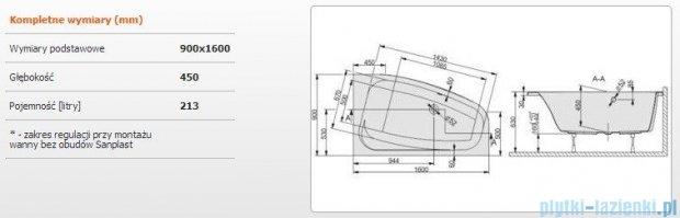 Sanplast Free Line Wanna asymetryczna prawa+stelaż WAP/FREE 160x90+ST26, 610-040-0690-01-000
