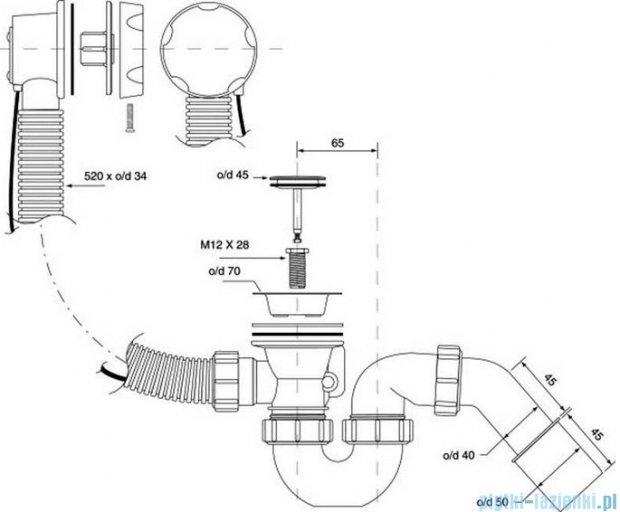 McAlpine syfon wannowy z korkiem automatyczntym pokrywa chrom HC31M-S2