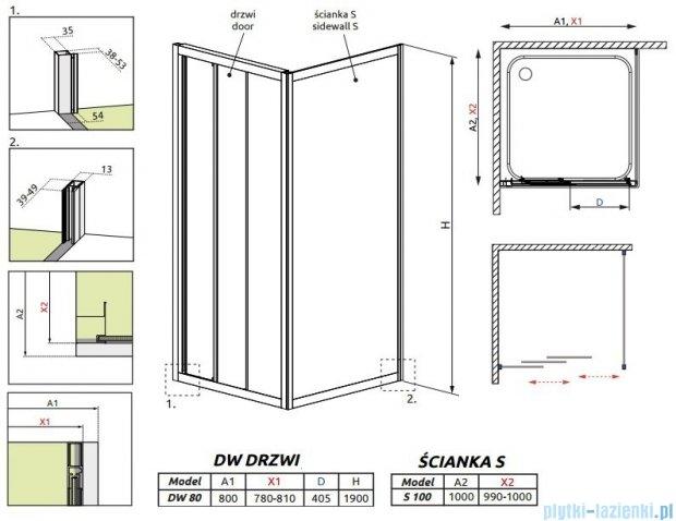 Radaway Treviso DW+S kabina 80x100 szkło fabric 32313-01-06N/32423-01-06N