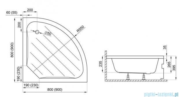 Polimat Versa brodzik półokrągły 90x90x39 cm 00662