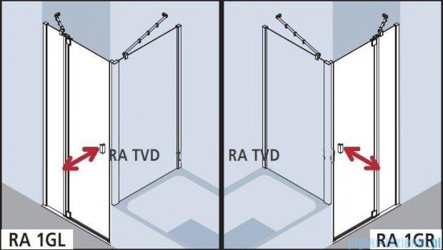 Kermi Raya Drzwi wahadłowe, 1-skrzydłowe, z polem stałym, lewe, szkło przezroczyste, profile srebrne 100x200 RA1LR10020VAK