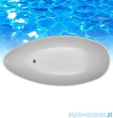 Omnires Marble+ Barcelona XL CM 170 wanna 170x77 wolnostojąca biało-czarna mat