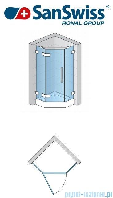 SanSwiss Pur PUT51P Ścianka boczna do kabiny 5-kątnej 30-100cm profil chrom szkło Cieniowanie czarne PUT51PSM21055