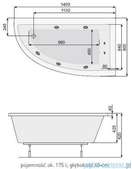Poolspa Wanna asymetryczna LAURA 140x80 prawa + hydromasaż Smart 2 PHANK10ST2C0000