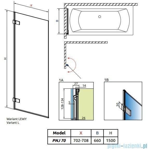 Radaway Arta Pnj parawan nawannowy 70cm lewy szkło przejrzyste 210101-01L