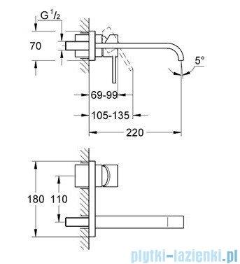 Grohe Allure 2-otworowa bateria umywalkowa wylewka 220mm chrom 19386000