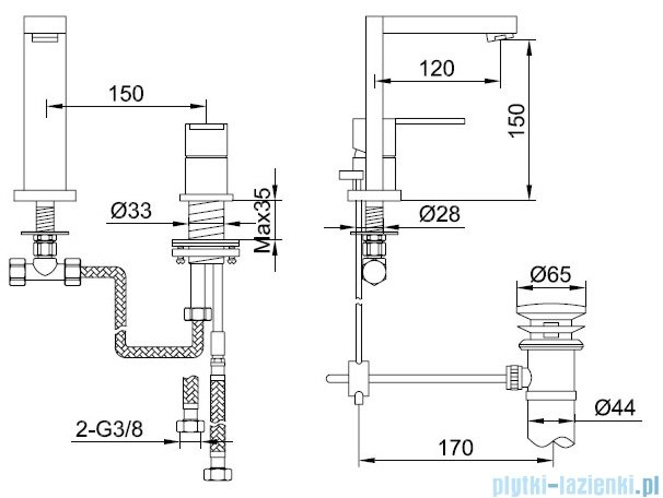 Kohlman Nexen 2-otworowa bateria umywalkowa chrom QB205U