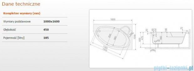 Sanplast Comfort Wanna asymetryczna prawa+stelaż WAP/CO 160x100+ST5 610-060-0350-01-000