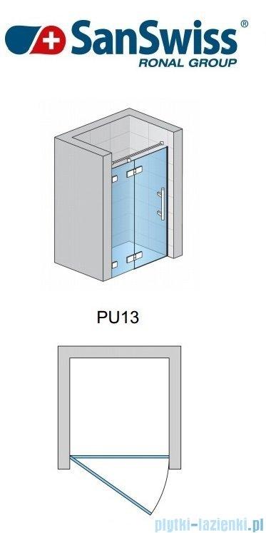 SanSwiss Pur PU13P Drzwi 1-częściowe wymiar specjalny profil chrom szkło przejrzyste Lewe PU13PGSM21007