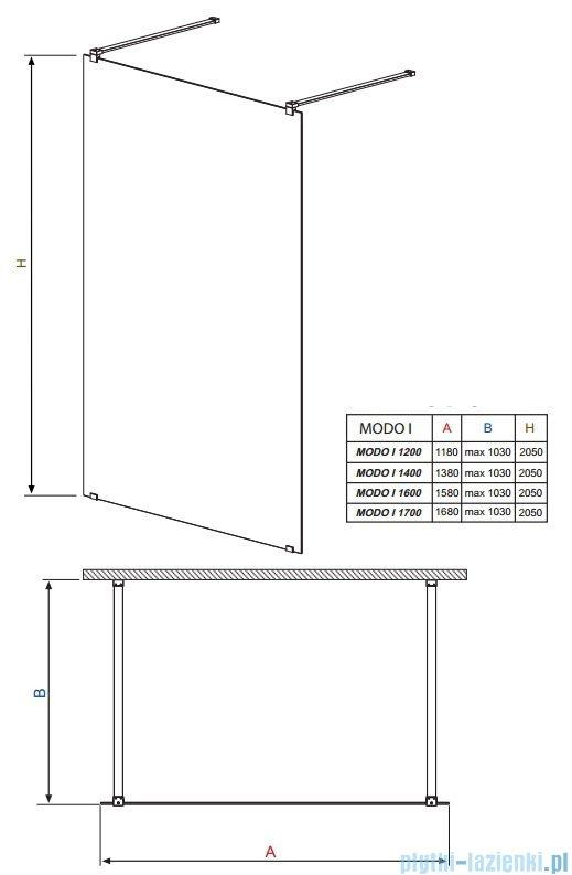 Radaway Modo I kabina Walk-in 170x205 przejrzyste 351174-01-01N