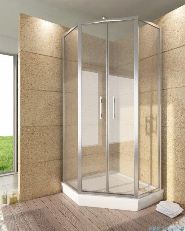 SanSwiss Top-Line Pięciokątna kabina prysznicowa TOP52 z drzwiami otwieranymi 100x100cm Durlux 200/srebrny mat TOP5270800122
