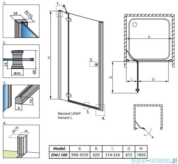 Radaway Torrenta DWJ drzwi wnękowe 100 lewe szkło grafitowe 31920-01-05N